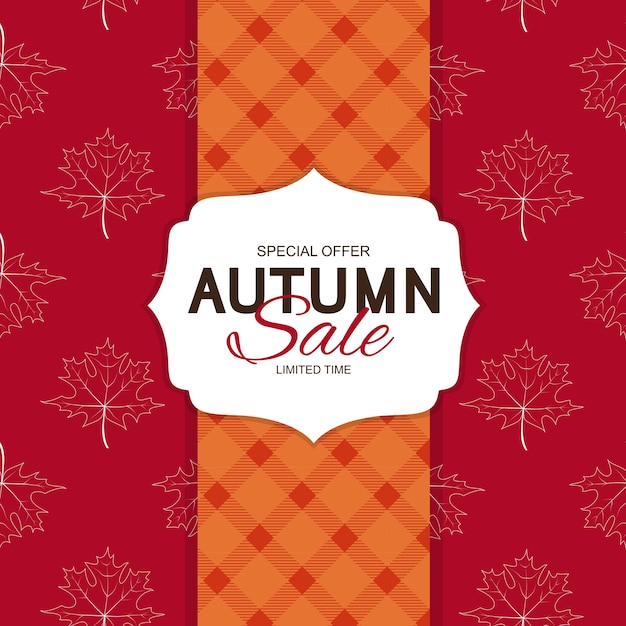 Autumn sale background template with leavesspecial offerlimited time