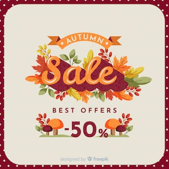 Autumn sale background vintage design