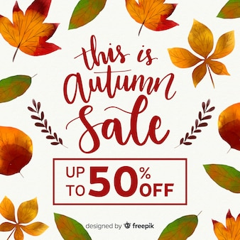 Autumn sale background in watercolor style