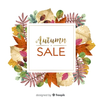 Autumn sale background watercolor style