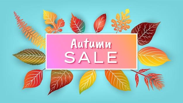 Осенняя распродажа фон с красочными листьями. векторная иллюстрация