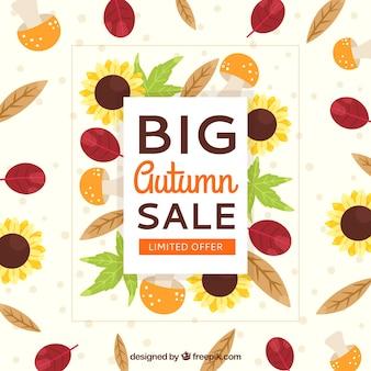 Осенняя распродажа фон с разноцветными листьями