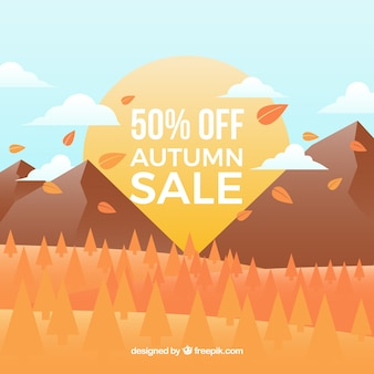 Autumn sale background with landscape