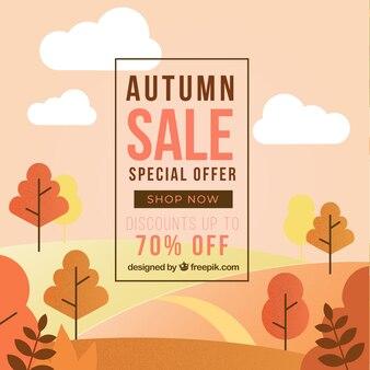 Autumn sale background with landscape