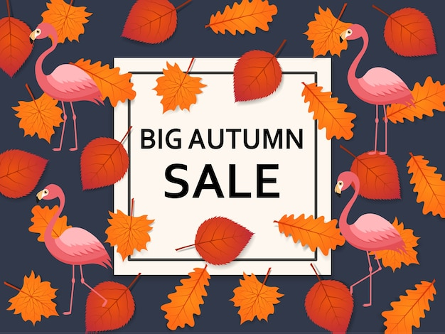 Autumn sale background with leaves, flamingo and banner inside. advertising poster, web banner.