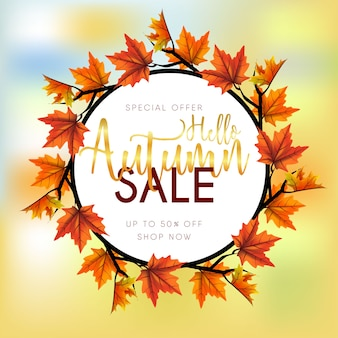 Autumn sale background with leaves maple round frame