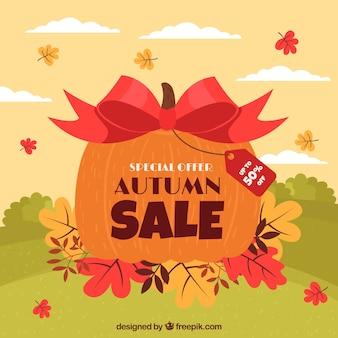 Fondo di vendita di autunno con la zucca