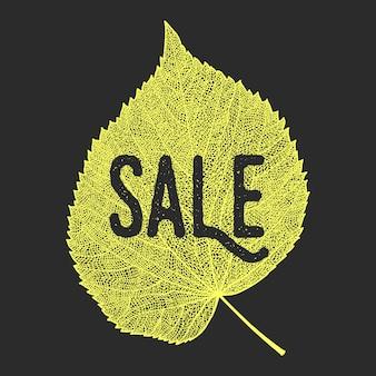 Autumn sale background with vector skeletonized leaf.