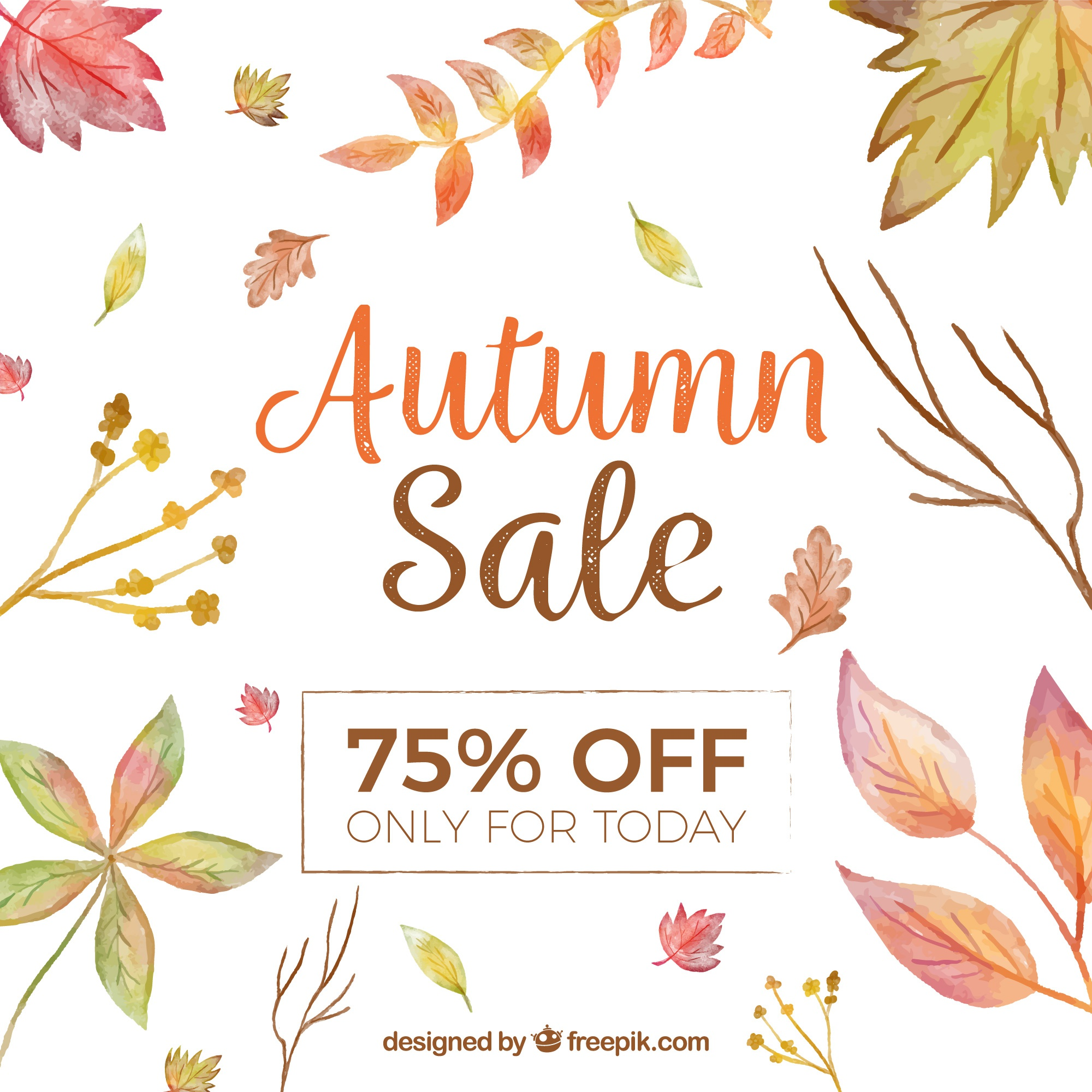 Autumn sale background with watercolor leaves