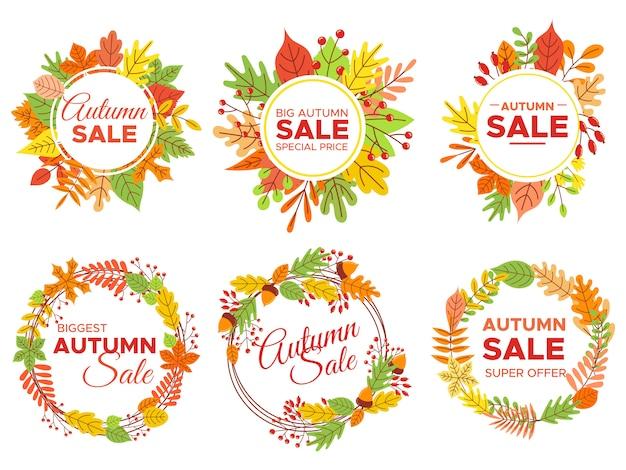 Осенняя распродажа значков. осенние распродажи, осенняя рамка с желтыми листьями и сентябрьская скидка