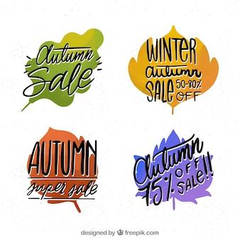 Autumn sale badges with leave shape