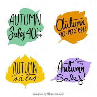 Осенние значки распродажи с формой отпуска