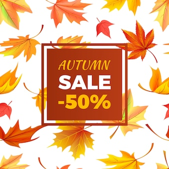 Autumn sale banner -50% off in frame leaves foliage