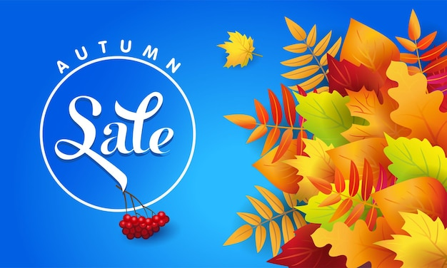 Осенняя распродажа. баннер. осенние опавшие листья. рекламный текст на синем фоне. плакат. рябина пучок