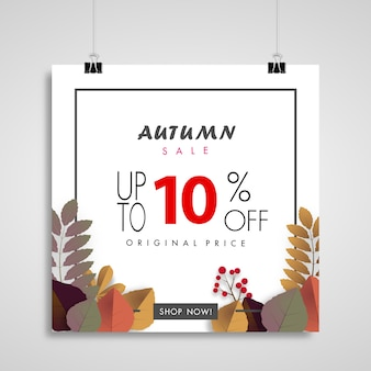 Autumn sale banner background ,ten percent sale off vector