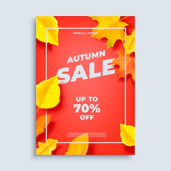 Autumn sale banner background with fall leaves