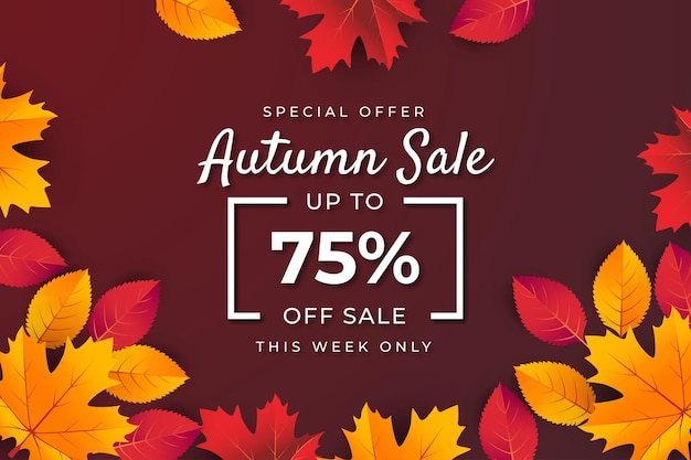Autumn sale banner background with leaf. special offer up to 75%.premium vector