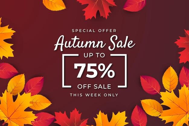 葉と秋の販売バナーの背景。 75%までの特別オファープレミアムベクター