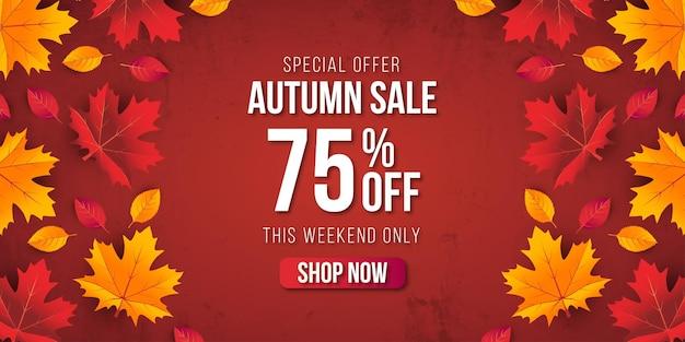 Осенняя распродажа баннер фон с листьями. специальное предложение до 75% премиум-вектор