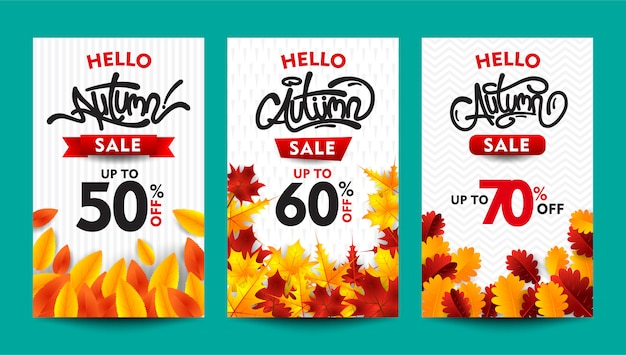 Autumn sale banner collection with typography and fall leaves