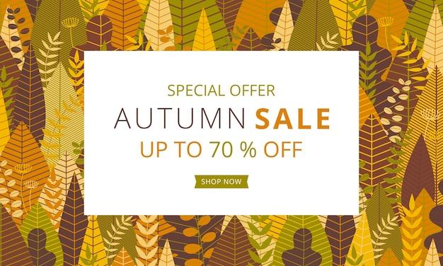 Autumn sale banner design template in warm tone