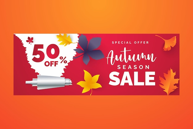 Autumn sale banner design with discount label in colorful autumn leaves background for fall season