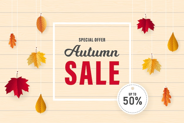 Autumn sale banner design with dried leaves