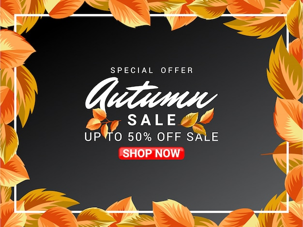Autumn sale banner design with leaves ornament