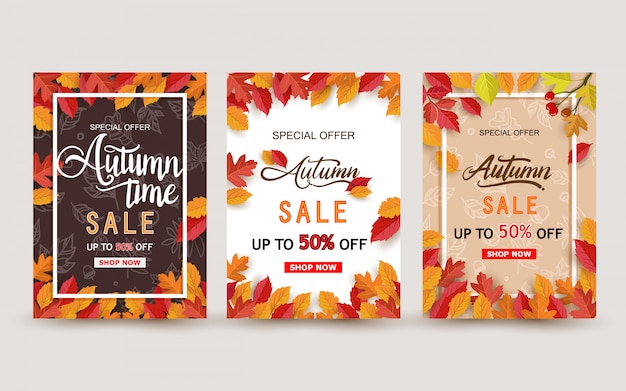 Autumn sale banner design with leaves set