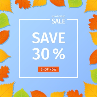 가을 판매 배너. 화려한 단풍과 그림