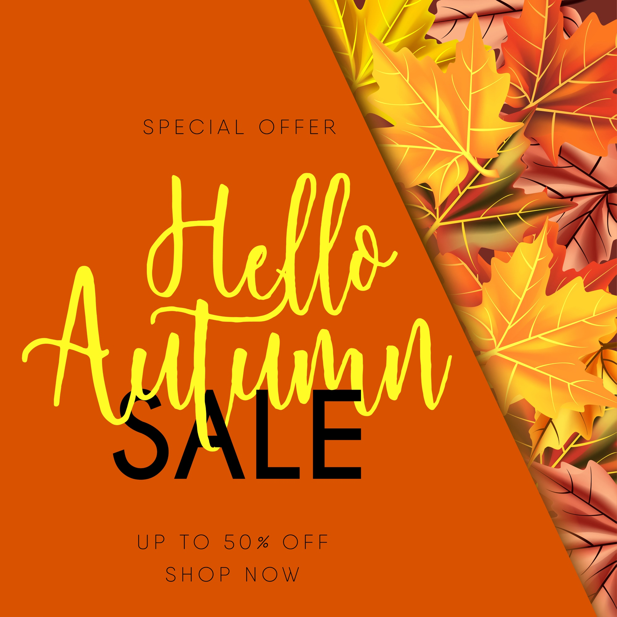 Autumn sale banner isolated background