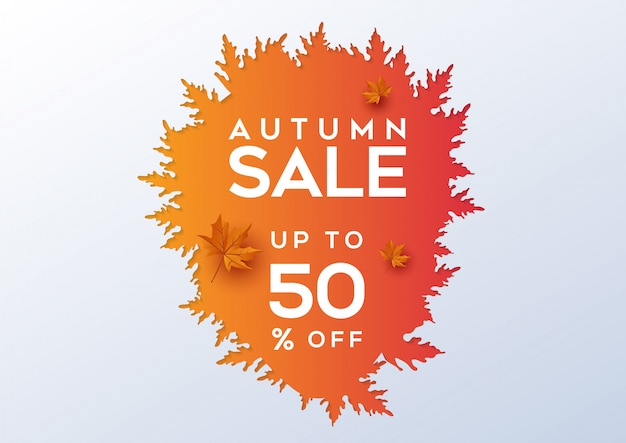 Autumn sale banner layout decorate with leaves