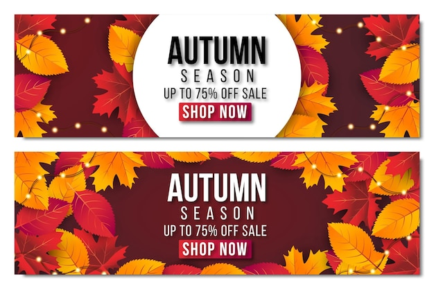 Autumn sale banner set background with leaf. special offer up to 75%.premium vector