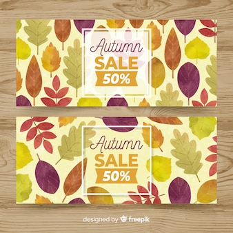 Autumn sale banner set in watercolor style