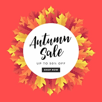Autumn sale banner for shopping sale.