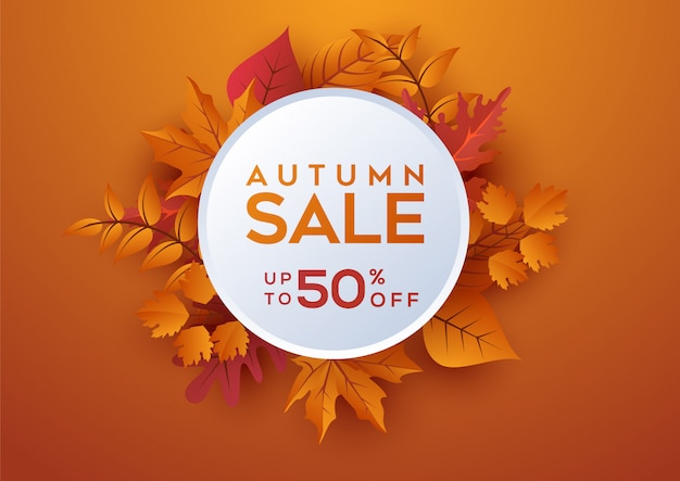 Autumn sale banner square layout decorate with leaves