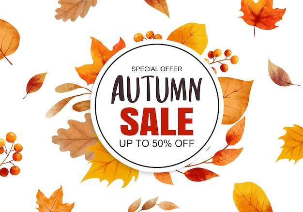 秋のセールバナーテンプレートの背景。葉のフレームとテキストで秋のショッピングセール。