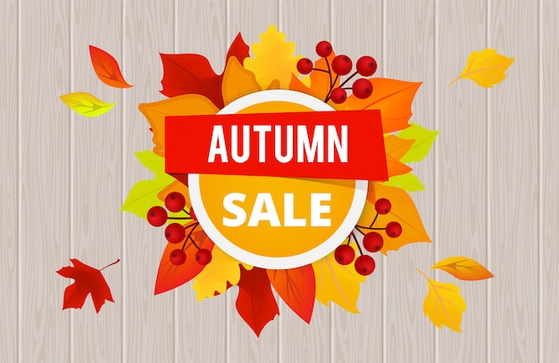 Autumn sale banner template.  sale flyer with autumn yellow red orange leaves