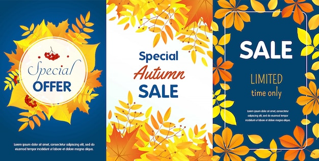 Autumn sale banner template set, flat style