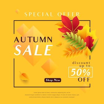 Autumn sale banner template with falling leaves