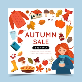 Autumn sale banner template with a girl and autumn elements.