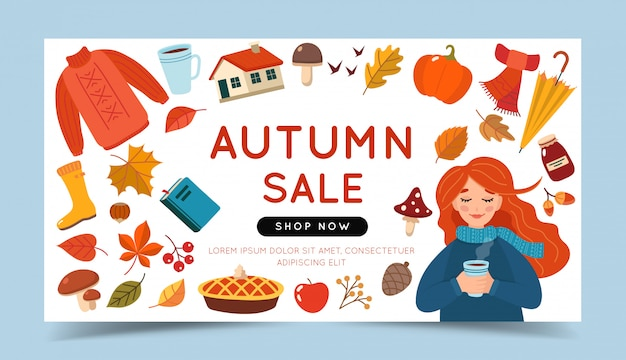 Autumn sale banner template with a girl and different autumn elements.
