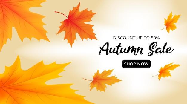 カエデの葉と秋のセールバナーテンプレートが落ちているイラスト
