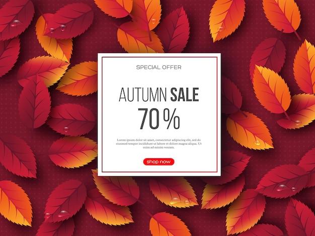 Banner di vendita autunnale con foglie 3d e motivo punteggiato. sfondo rosso - modello per sconti stagionali, illustrazione vettoriale.