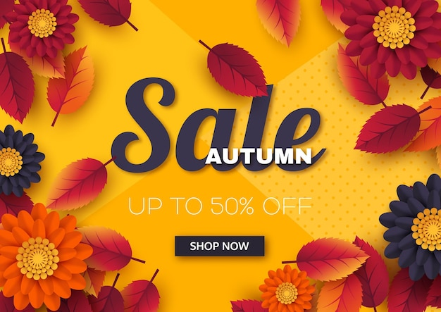 Autumn sale banner with 3d leaves and flowers.  template for seasonal discounts