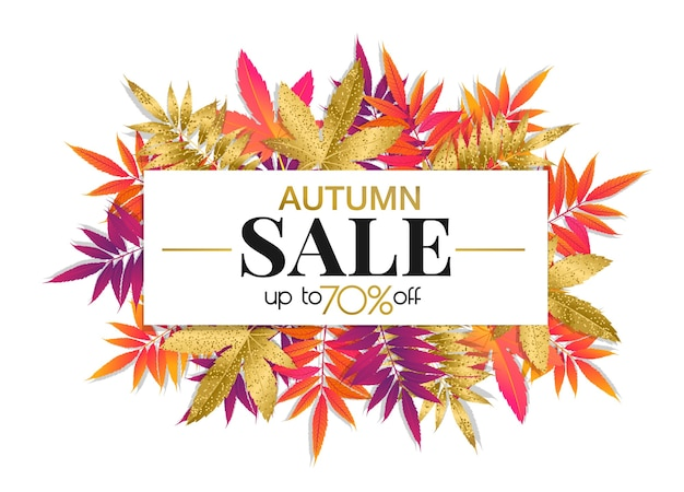 Autumn sale banner with bright and gold autumn leaves, fall season promotion