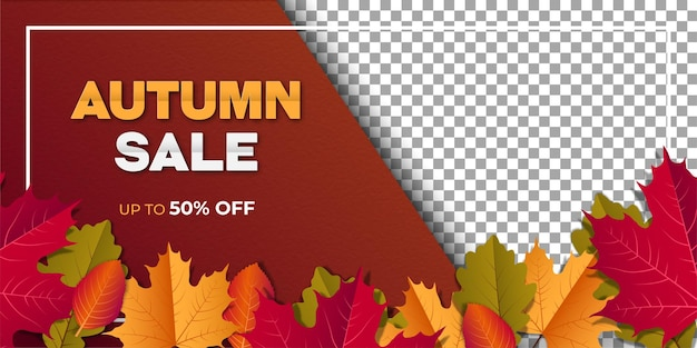 Autumn sale banner with foliage on gradient background