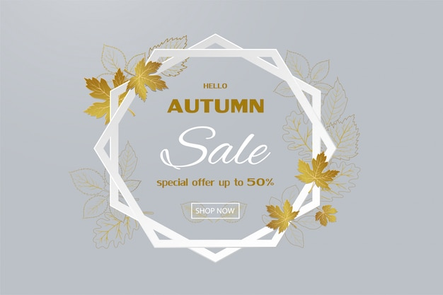 Autumn sale banner with golden leaves on hexagon frame