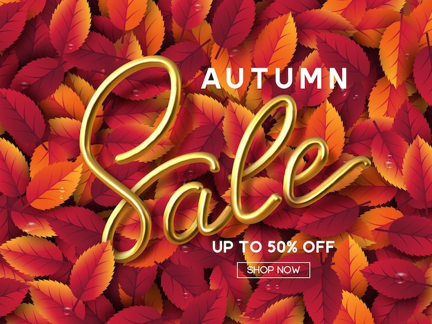 Autumn sale banner with leaves and golden handwritten 3d calligraphic sign. seasonal shopping promotion. vector illustration.