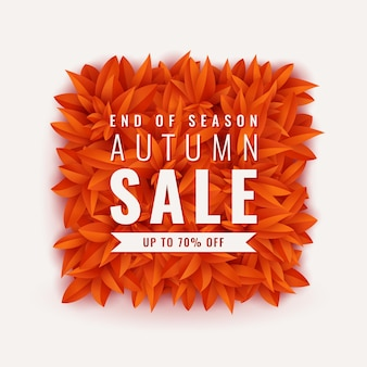 Autumn sale banner with leaves. seasonal background vector square frame with falling autumn leaves and text. bright foliage poster